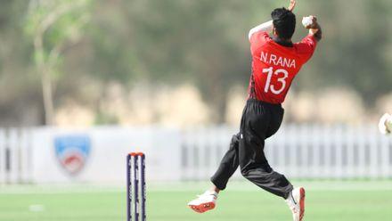 Nasrullah Rana bowls against Nigeria