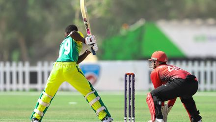 Sesan Adedeji bat against Hong Kong