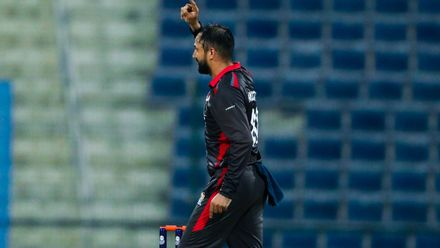 Rohan Mustafa celebrates after taking wicket of Ravinderpal Singh