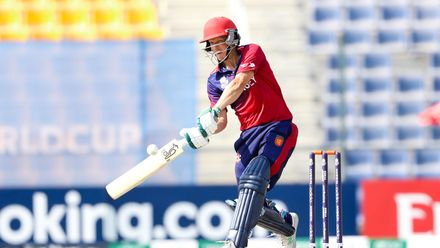 Nick Ferraby bats against Oman