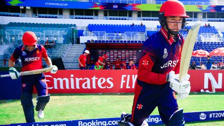 Jersey openers stride out to bat