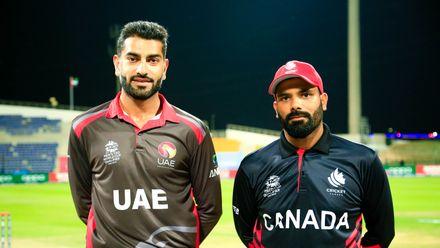 Ahmed Raza and Navneet Dhaliwal at the toss