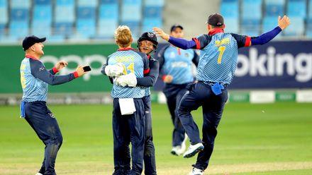 Bernard Scholtz gets the key wicket of Khawar Ali