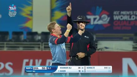 T20WCQ: NAM v OMA – Bernard Scholtz turned the game with his 3/14