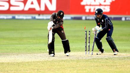 Sultan Ahmed bowled by Mark Watt