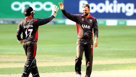 Rohan Mustafa celebrates his wicket