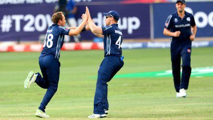 Josh Davey celebrates his wicket of Rohan Mustafa
