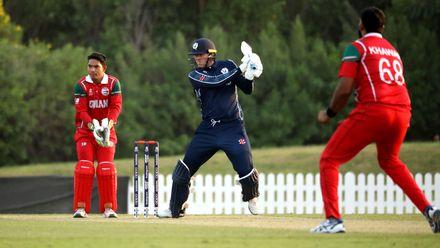 Michael Leask batting against Oman