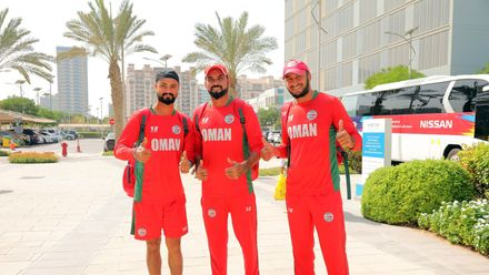 Oman players arrive at the ground