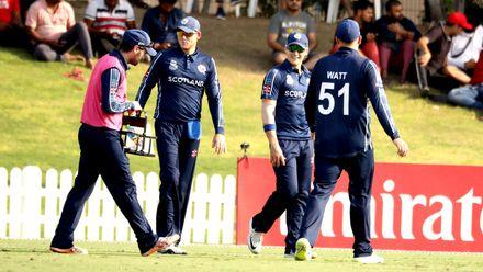 Scotland celebrate wicket of Khurram Nawaz