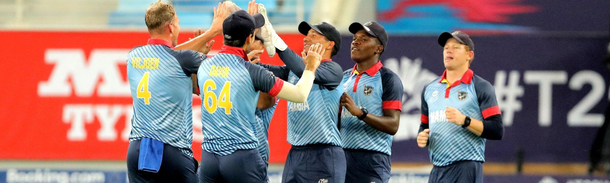 Namibia celebrate wicket of Assadollah Vala