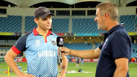 Namibia Captain Gerhard Erasmus speaks after the toss