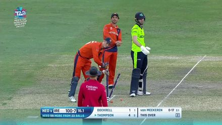 T20WCQ: IRE v NED – Stumps come in the way of catch