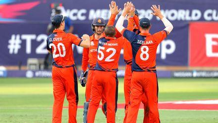 Netherlands celebrate wicket of Kevin O'Brien