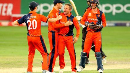 Roelof van der Merwe celebrate his wicket of Tony Ura