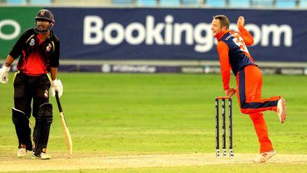 Roelof van der Merwe bowling against PNG