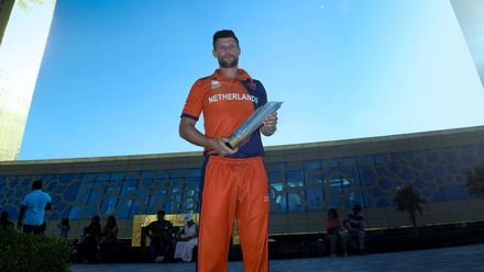 Seelar poses with the ICC Men's T20 World Cup Qualifier Trophy