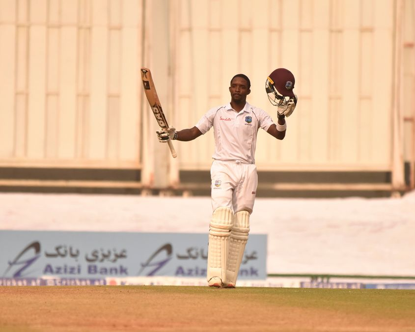 Shamarh Brooks scored his maiden Test ton in the first innings