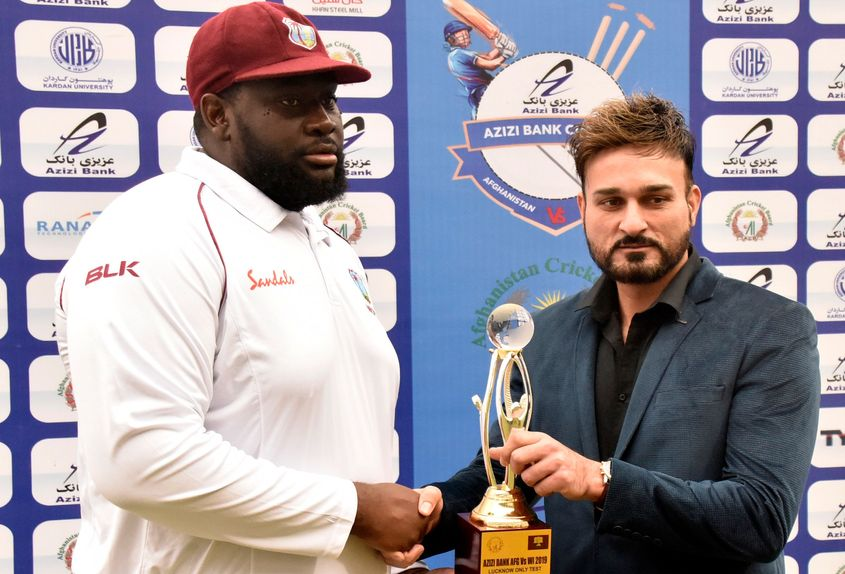 Rahkeem Cornwall was the Player of the Match for his 10-wicket haul