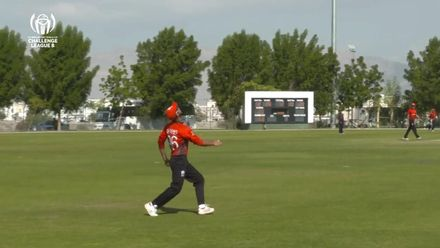 CWC Challenge League B: Jersey v Hong Kong – Oman: Wasif takes a good high catch to dismiss Stevens