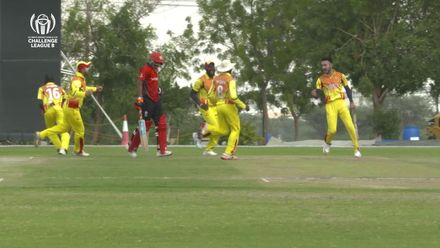 CWC Challenge League B: Hong Kong v Uganda – Riazat Ali Shah of Uganda runs out Haroon Arshad