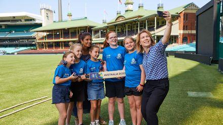 Photo credit: UNICEF Australia / Patrick Moran L-R Poppy Galluzzo, Haya Gribble, Mithali Raj (Indian cricket great), Jemima McGuigan, Alice McKay, Gemma Woolley, Alex Blackwell (Former Australian captain)