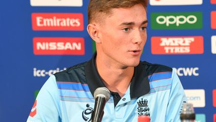 George Balderson of England talks during a press conference prior to the ICC U19 Cricket World Cup 2020