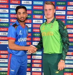 Bryce Parsons of South Africa and Farhaan Zakhiel of Afghanistan during a press conference prior to the ICC U19 Cricket World Cup 2020