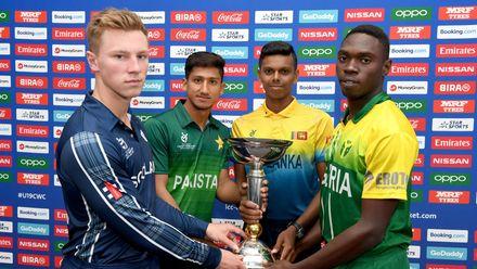 Angus Guy of Scotland, Rohail Nazir of Pakistan, Nipun Danaajaya of Sri Lanka and Sylvester Okpe of Nigeria during a press conference prior to the ICC U19 Cricket World Cup 2020