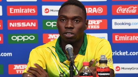 Sylvester Okpe of Nigeria during a press conference prior to the ICC U19 Cricket World Cup 2020