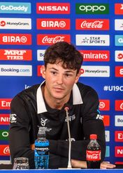 Jesse Tashkoff of New Zealand talks during a press conference prior to the ICC U19 Cricket World Cup 2020