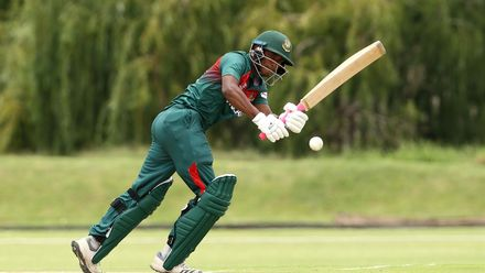 Tanzid Hasan bats during the ICC U19 Cricket World Cup warm up match between Bangladesh and Australia at Tuks Cricket Oval on January 13, 2020 in Pretoria, South Africa.
