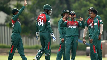 Bangladesh players celebrate a wicket during the ICC U19 Cricket World Cup warm up match between Bangladesh and Australia at Tuks Cricket Oval on January 13, 2020 in Pretoria, South Africa.