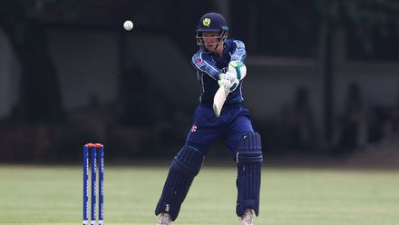 Angus Guy of Scotland edges the ball towards the boundary during the ICC U19 Cricket World Cup warm up match between Scotland and Japan at St John's College on January 13, 2020 in Johannesburg, South Africa.