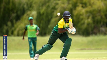 Peter Aho of Nigeria bats during the ICC U19 Cricket World Cup warm up match between South Africa and Nigeria at Tuks Cricket Oval on January 14, 2020 in Pretoria, South Africa.