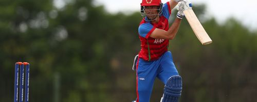 Ibrahim Zadran of Afghanistan hits the ball towards the boundary during the ICC U19 Cricket World Cup warm up match between England and Afghanistan at Mandela Cricket Oval on January 14, 2020 in Hammanskraal, South Africa.