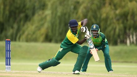 Sulaimon Runsewe of Nigeria bats during the ICC U19 Cricket World Cup warm up match between South Africa and Nigeria at Tuks Cricket Oval on January 14, 2020 in Pretoria, South Africa.