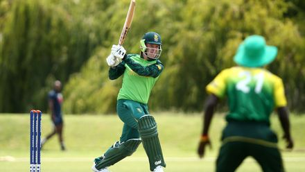 Bryce Parsons of South Africa bats during the ICC U19 Cricket World Cup warm up match between South Africa and Nigeria at Tuks Cricket Oval on January 14, 2020 in Pretoria, South Africa.