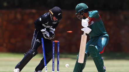 Mohammad Akbar Ali of Bangladesh is bowled by Adithya Ashok of New Zealand during the ICC U19 Cricket World Cup warm up match between New Zealand and Bangladesh at St John's College on January 15, 2020 in Johannesburg, South Africa.
