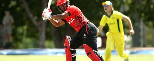 Eshan Sensarma of Canada bats during the ICC U19 Cricket World Cup warm up match between Australia and Canada at St Stithians College on January 15, 2020 in Johannesburg, South Africa.