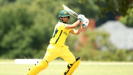 Oliver Davies of Australia bats during the ICC U19 Cricket World Cup warm up match between Australia and Canada at St Stithians College on January 15, 2020 in Johannesburg, South Africa.