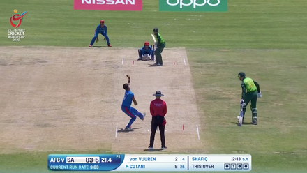 ICC U19 CWC: SA v AFG – Shafiq deceives Cotani with fine googly