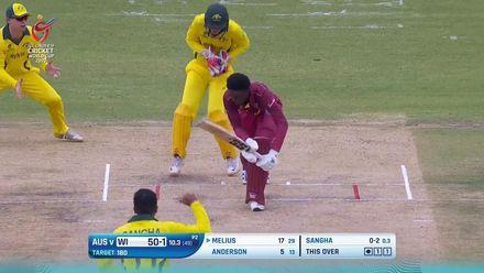 ICC U19 CWC: AUS  v WI - Melius edges one off Sangha
