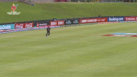 ICC U19 CWC: UAE v CAN– Akhil Kumar fails to clear mid-wicket