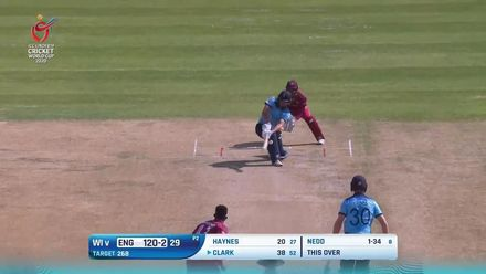 ICC U19 CWC: ENG v WI – Nedd traps Clark in front