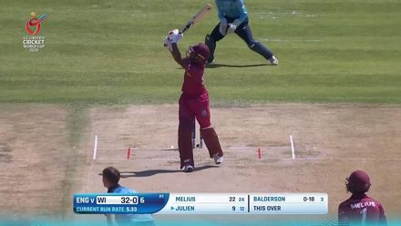 ICC U19 CWC: ENG v WI – Julien flicks Balderson for a stylish six
