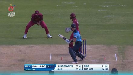 ICC U19 CWC: ENG v WI – Cox reverse-sweeps into the hands of first slip
