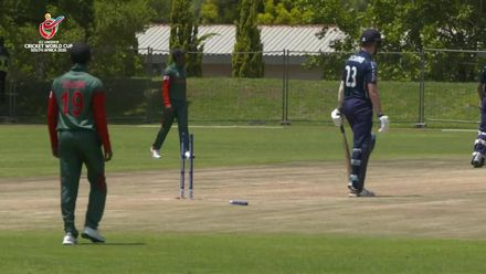 ICC U19 CWC: BAN v SCO – Chowdhury removes Danny Cairns' off stump