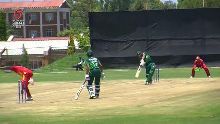 ICC U19 CWC: PAK v ZIM – Qasim Akram launches a big six off Myers