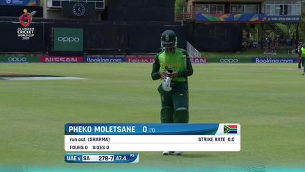 ICC U19 CWC: SA v UAE – Mix-up leads to Moletsane run out